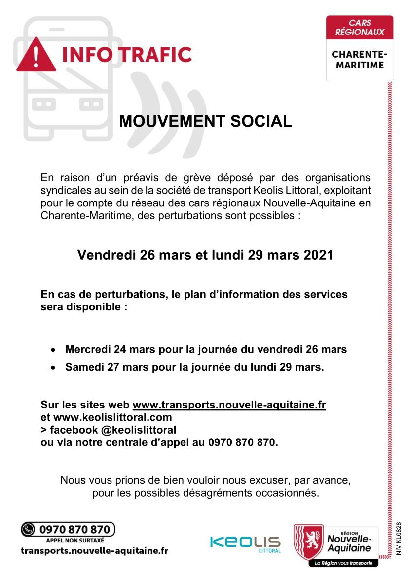 Services des bus scolaires – mouvement de grève