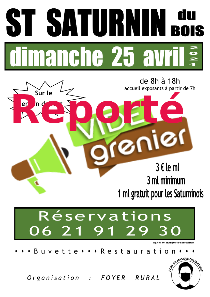 You are currently viewing Vide grenier du dimanche 25 avril 2021